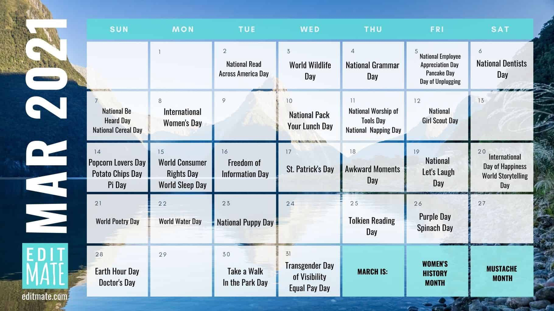 Pictures of National Day Calendar 2021 March